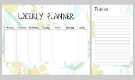 Abstract weekly planner. Hand drawing vector weekly planner. Abstract painting templates Stock Images