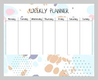 Abstract weekly planner. Hand drawing vector weekly planner. Abstract painting templates Stock Photo