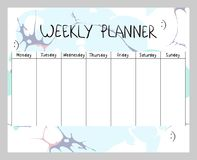 Abstract weekly planner. Hand drawing vector weekly planner. Abstract painting templates Royalty Free Stock Photos