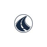abstract wegelement in cirkelembleem, ronde vorm logotype met weg op witte vectorillustratie als achtergrond stock illustratie