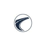 abstract wegelement in cirkelembleem, ronde vorm logotype met weg op witte vectorillustratie als achtergrond vector illustratie