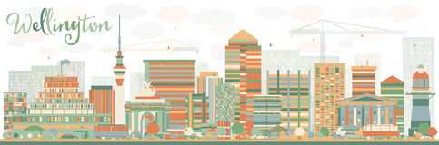 Abstract Wellington skyline with color buildings. Royalty Free Stock Photography