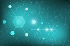 Abstract Wetenschapsmalplaatje, met een DNA-moleculesconcept Stock Fotografie