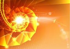 Abstract wetenschapsontwerp met veelhoeken en driehoeken DNA-molecule spyral achtergrond royalty-vrije illustratie