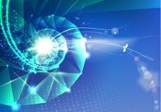 Abstract wetenschapsontwerp met veelhoeken en driehoeken DNA-molecule spyral achtergrond stock illustratie