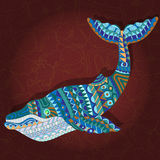 Abstract whale with geometric pattern on burgundy background Stock Image