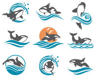Abstract whale icons set Royalty Free Stock Photography