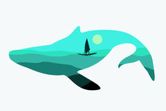 Abstract whale -  illustration. Royalty Free Stock Image