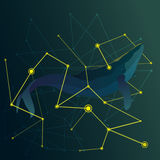 Abstract whale between the yellow lines vector. Royalty Free Stock Photography