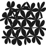 Abstract Whimsical Flower Background. Whimsical Floral  Background, Flower Black and White, Exquisite Gentle Floral Graphic Ornament, Minimalistic Fashion Stock Image