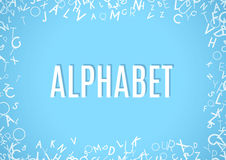Abstract white alphabet ornament frame isolated on blue background Royalty Free Stock Photo