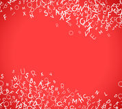 Abstract white alphabet ornament frame  on red background Stock Photo