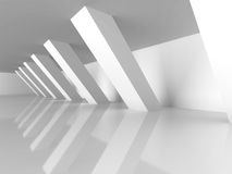 Abstract White Architecture Background. Columns Modern Design. 3d Render Illustration Royalty Free Stock Photography