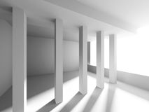 Abstract White Architecture Background. Columns Modern Design. 3d Render Illustration Stock Photo