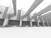 Abstract White Architecture Background. Columns Modern. Design. 3d Render Illustration Stock Photo
