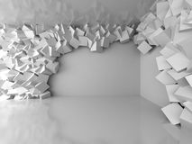 Abstract white architecture background with cubes on the wall. 3d render illustration Stock Photo