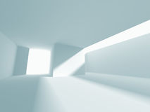 Abstract White Architecture Background. Empty room with window. 3d render illustration Stock Photos