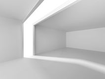 Abstract White Architecture Background. Empty room with window. 3d render illustration Royalty Free Stock Photos