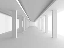 Abstract White Architecture Background. Empty room with window. 3d render illustration Royalty Free Stock Photo