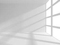 Abstract White Architecture Background. Empty room with window. 3d render illustration Stock Photo