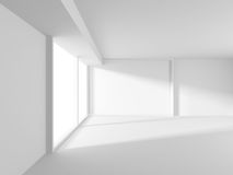 Abstract White Architecture Background. Empty room with window. 3d render illustration Stock Images