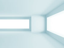 Abstract White Architecture Background. Empty room with window. 3d render illustration Royalty Free Stock Photography
