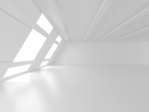 Abstract White Architecture Background. Empty room with window. 3d render illustration Stock Image