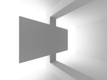 Abstract white architecture minimalistic white background. 3d render illustration Royalty Free Stock Photos