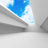 Abstract White Architecture With Sky Background. 3d render illustration vector illustration