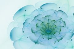 Abstract white background with blue and green flower in backligh. T texture, fractal pattern Stock Photography