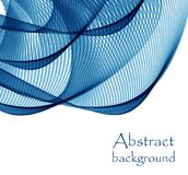 Abstract white background with blue lines in the form of waves. Abstract background with blue lines in the form of waves stock illustration