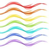 Abstract white background with colorful lines in the form of waves. Abstract white background with colorful lines in the form of abstract smoke Royalty Free Stock Photo