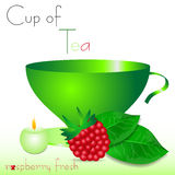 Abstract white background with green cup of tea and raspberry Stock Photo