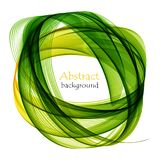 Abstract white background with green lines in the form of waves. Abstract white background with green waves in the shape of a circle Stock Photo