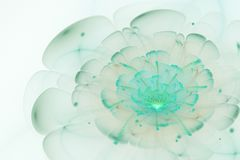 Abstract white background with light green and turquoise flower Stock Images