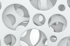 Abstract white background. Round holes in plastic sheets. 3D rendering. Abstract white background. Round holes in white plastic sheets. 3D rendering Royalty Free Stock Image