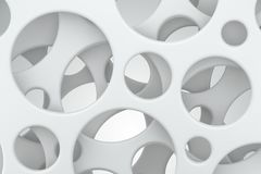 Abstract white background. Round holes in plastic sheets. 3D rendering. Abstract white background. Round holes in white plastic sheets. 3D rendering Royalty Free Stock Images