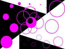 Abstract white and black background with pink ring. S and circles of different size Royalty Free Stock Photo
