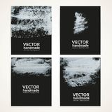Abstract white on black brush texture banner set 2 Royalty Free Stock Photo