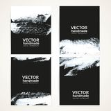Abstract white on black brush texture banner set Royalty Free Stock Images