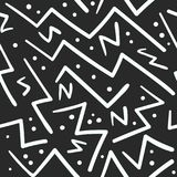 Abstract white on black zig zag with dots pattern. Abstract bwhite on black zig zag with dots seamless pattern. Abstract fashion trendy vector texture with hand Stock Image