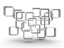 Abstract White Blocks Flow Geometric Background Stock Image