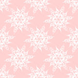 Abstract white blossoms on pink seamless. Regular geometric seamless background. Abstract white blossoms on pink, delicate and dreamy vector illustration