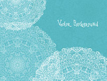 Abstract white and blue doily background. Vector abstract white and blue doily background with hand drawn elements Stock Photo