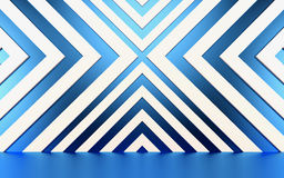 Abstract white and blue geometrical background.3D render Royalty Free Stock Image