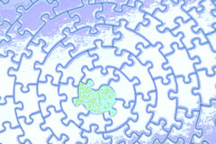 Abstract of a white-blue jigsaw with one missing piece. Pieces fitting together in form of a spiral - adobe RGB Stock Photos
