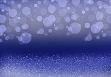 Abstract, white, blue spots and silver dust on a blue background stock image
