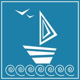 Abstract white boat. Vector illustration of white boat on the blue background Royalty Free Stock Photo