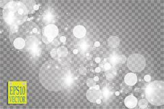 Abstract white bokeh effect explosion with sparks modern design. Glow star burst or firework light effect. Sparkles. Light vector transparent background Royalty Free Stock Images