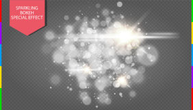 Abstract white bokeh effect explosion with sparks modern design transparency in additional format only Royalty Free Stock Photo